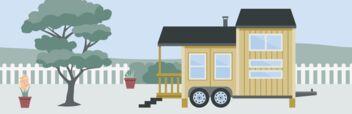 Ein Tiny House auf einem Anhänger, das aber nicht bewegt wird