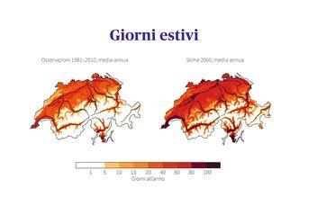 Confronto dei giorni estivi in Svizzera: osservazioni nel periodo di riferimento 1981-2010 con stime per il 2060 in valori medi nel caso in cui non vengano adottate misure di protezione del clima.