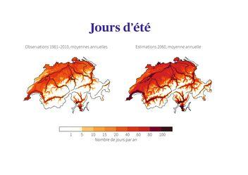 Jours d'été en Suisse: observations au cours de la période de référence 1981–2010, comparées aux estimations intermédiaires pour 2060 sans mesures de protection du climat