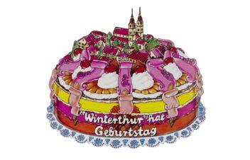 Illustration représentant un gâteau d'anniversaire avec l'inscription «Winterthur fête son anniversaire»