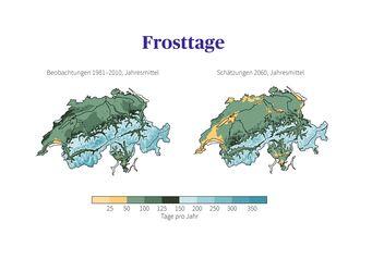 Vergleich der Frosttage in der Schweiz: Beobachtungen der Normperiode 1981 - 2010 mit der mittleren Schätzung für 2060, wenn keine Klimaschutzmassnahmen ergriffen werden.