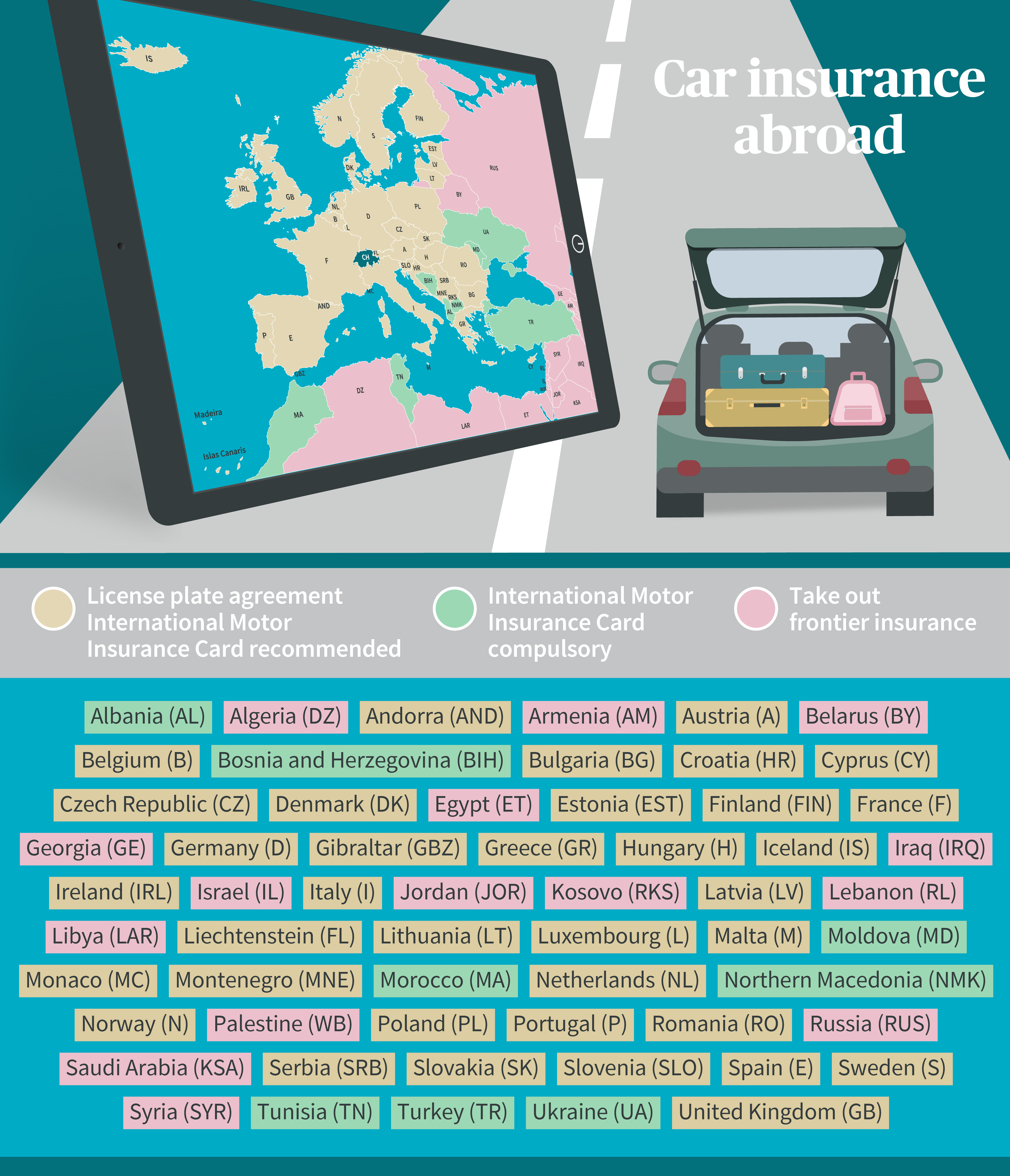 Graphic/country list, car insurance protection abroad (green card)
