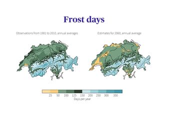 Comparison of frost days in Switzerland: Observations for the 1981-2010 normal period with the average estimate for 2060 if no climate protection measures are taken.
