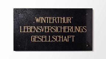 Plaque d'entreprise de «Winterthur Vie», société d'assurances sur la vie