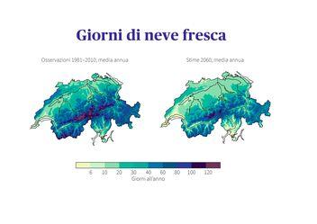 Confronto dei giorni di neve fresca in Svizzera: osservazioni nel periodo di riferimento 1981-2010 con stime per il 2060 in valori medi nel caso in cui non vengano adottate misure di protezione del clima.