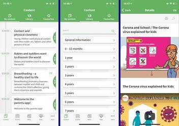 Screenshots from the Parentu app