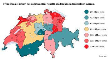 Frequenza dei sinistri nei singoli cantoni rispetto alla frequenza dei sinistri in Svizzera