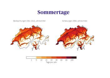 Vergleich der Sommertage in der Schweiz: Beobachtungen der Normperiode 1981 - 2010 mit der mittleren Schätzung für 2060, wenn keine Klimaschutzmassnahmen ergriffen werden.