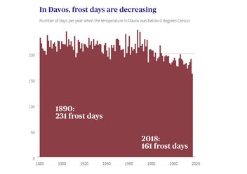 In Davos, frost days are decreasing