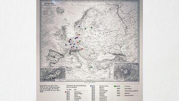 Carte de l'Europe indiquant les différents sites de la société