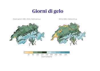 Confronto dei giorni di gelo in Svizzera: osservazioni nel periodo di riferimento 1981-2010 con stime per il 2060 in valori medi nel caso in cui non vengano adottate misure di protezione del clima.
