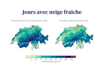 Jours de neige fraîche en Suisse: observations au cours de la période de référence 1981–2010, comparées aux estimations intermédiaires pour 2060 sans mesures de protection du climat