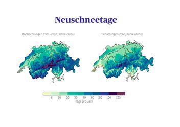 Vergleich der Neuschneetage in der Schweiz: Beobachtungen der Normperiode 1981 - 2010 mit der mittleren Schätzung für 2060, wenn keine Klimaschutzmassnahmen ergriffen werden.