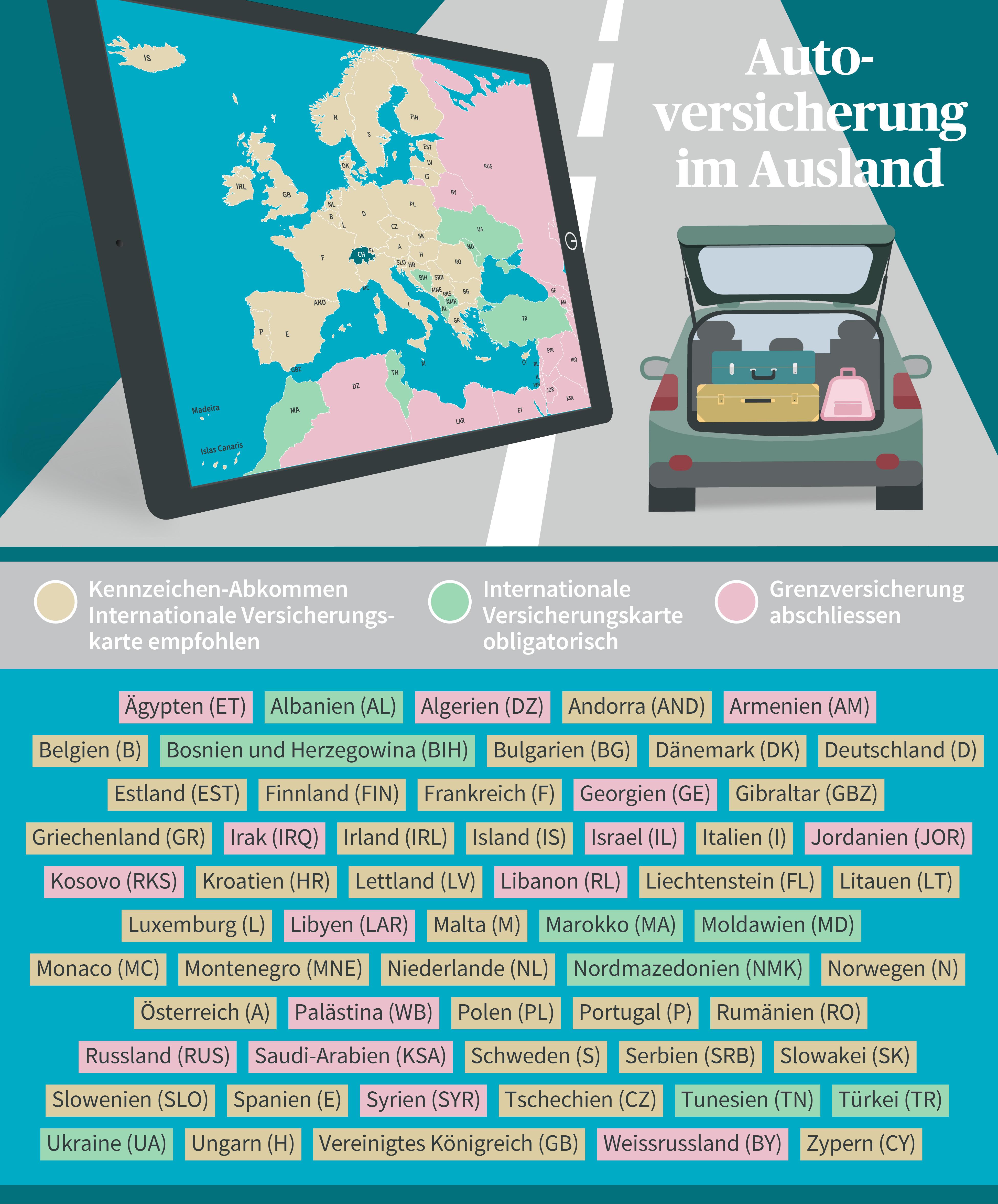 Grafik/Länderaufzählung , Versicherungsschutz Auto im Ausland (Grüne Karte)