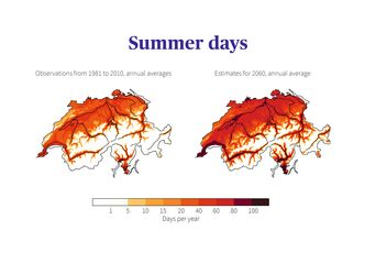 Comparison of summer days in Switzerland: Observations for the 1981-2010 normal period with the average estimate for 2060 if no climate protection measures are taken.