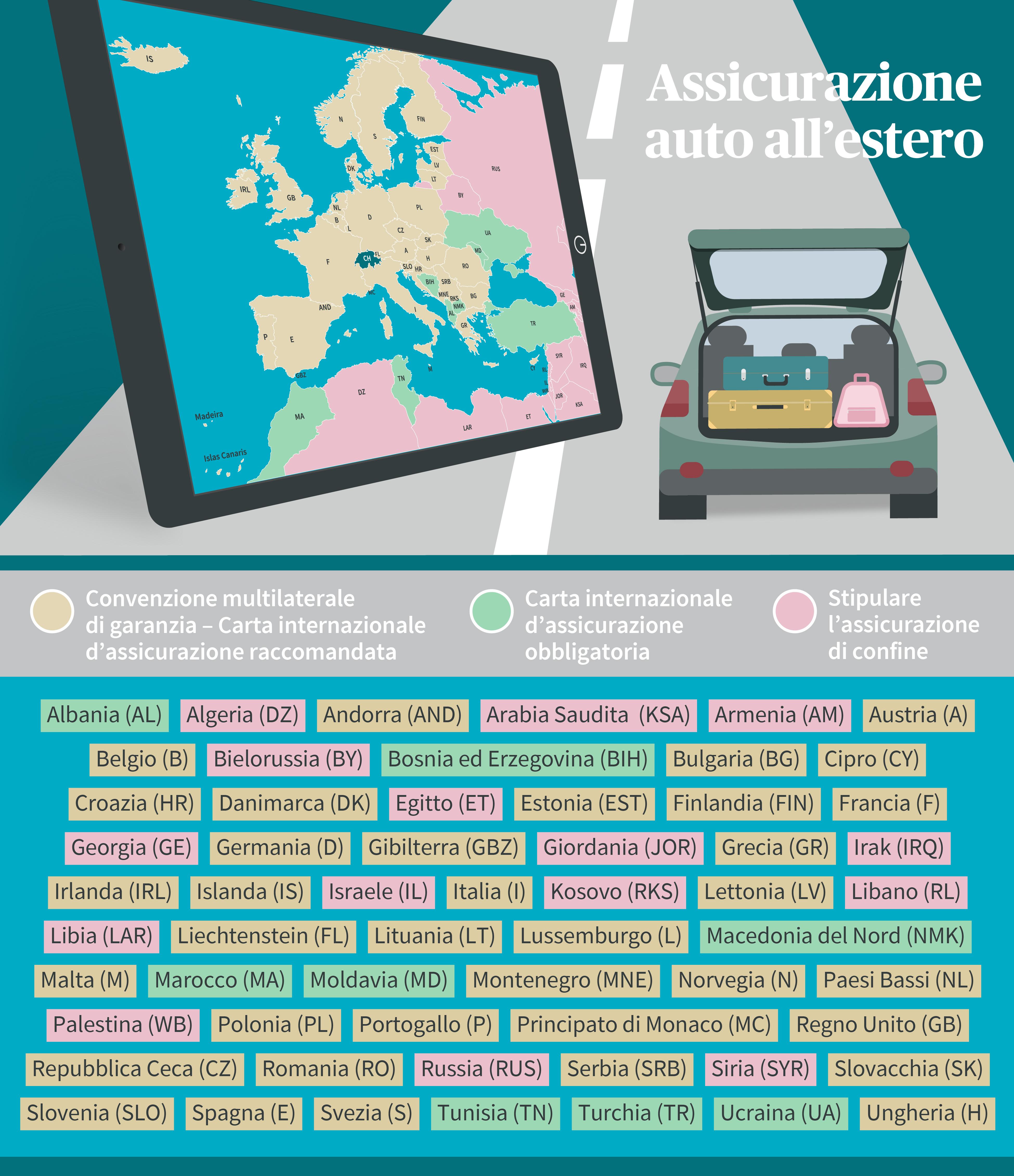 Grafico/Elenco dei Paesi, protezione assicurativa per l'auto all'estero (carta verde)