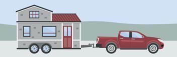 Ein Tiny House auf einem Anhänger, gezogen von einem Auto